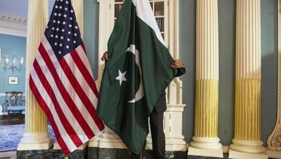 File photo of the national flags of the United States and Pakistan at the US state department in Washington.