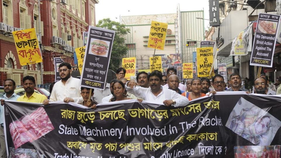West Bengal Congress leaders staged an agitation outside Kolkata Municipal Corporation on May 4 and demanded action against people running the carcass meat racket.