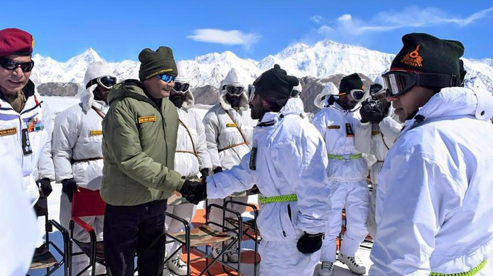 President Ram Nath Kovind on Thursday became the second president to visit the Siachen base camp of the Indian Army, and conveyed the country's respect for the soldiers protecting Indian borders at the highest battlefield in the world. He also laid a wreath at a memorial in the camp and later interacted with the soldiers posted there. (PTI)