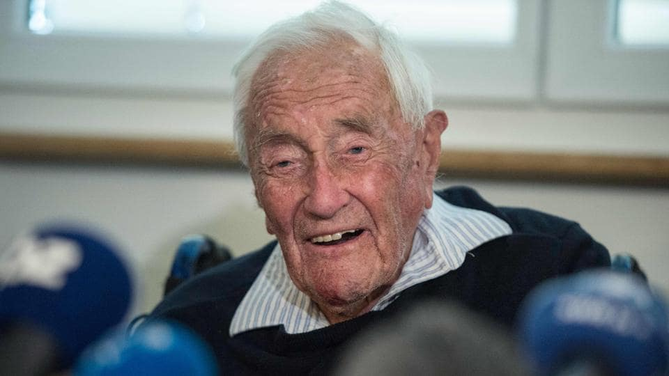 Australian scientist David Goodall attends a press conference on Wednesday, on the eve of his assisted suicide in Basel.