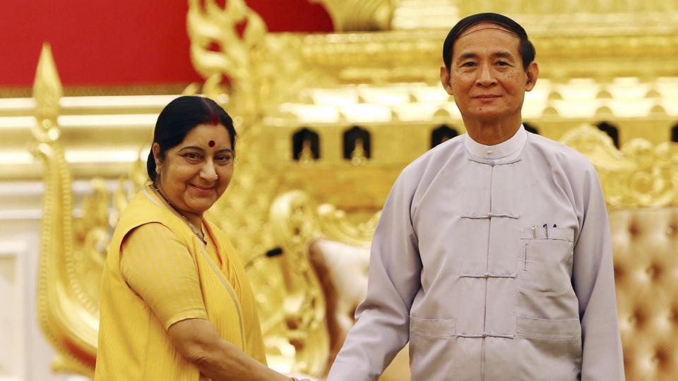 Sushma Swaraj calls on Myanmar Prez, hold bilateral talk