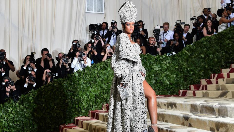 Rihanna arrives for the 2018 Met Gala at the Metropolitan Museum of Art in New York. (Hector Retamal / AFP)