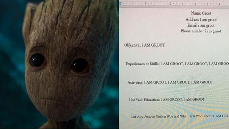 Student makes resume for Groot for class assignment