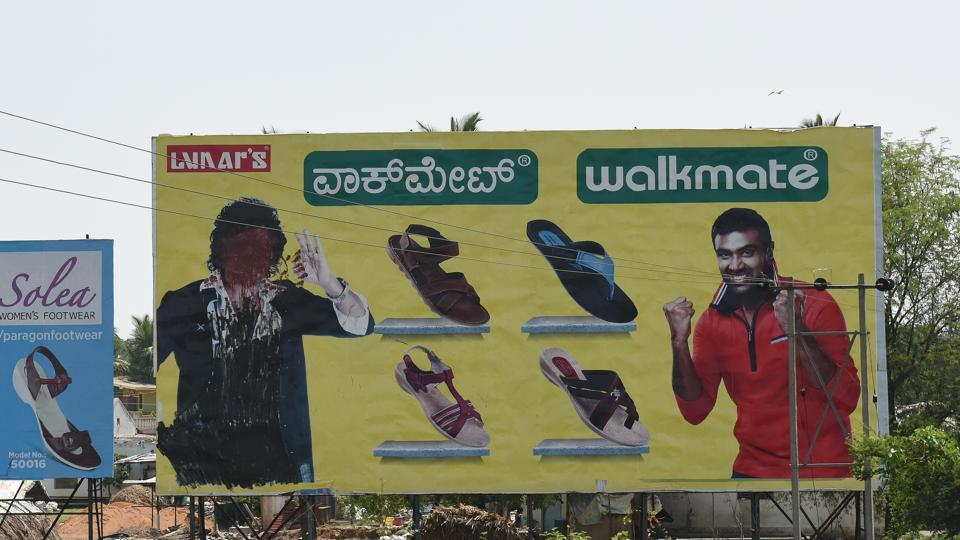A hoarding featuring actor and politician Upendra has his face blotted out with ink, an effect of the model code of conduct ahead of state assembly elections in Ramanagara district, Karnataka. The Model Code of Conduct imposes restrictions on political advertisement or propaganda ahead of elections hoping to keep voters uninfluenced and polling fair. (Arijit Sen / HT Photo)