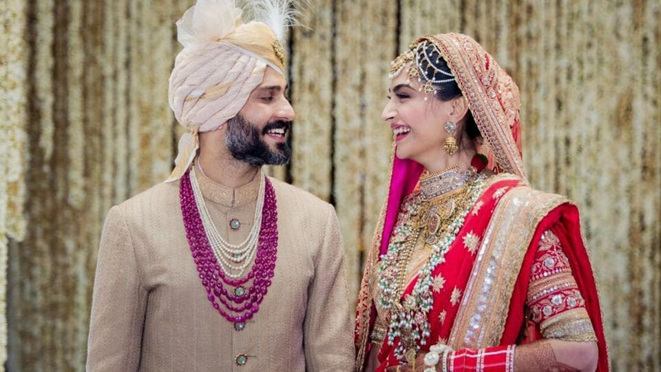 Bollywood actor Sonam Kapoor and Delhi businessman Anand Ahuja tied the knot in a traditional Sikh wedding in Mumbai on May 08, 2018. (PTI)