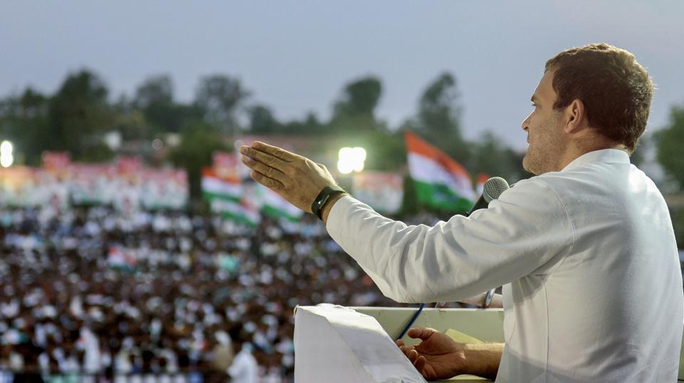 Congress President Rahul Gandhi addresses a corner meeting during an election campaign ahead of the Karnataka assembly elections at Shiggaon Cricket Ground on May 04, 2018. Gandhi held public rallies in Kalgi and Shiggaon, where he hit out at Prime Minister Narendra Modi for not addressing farmers' issues. (PTI)