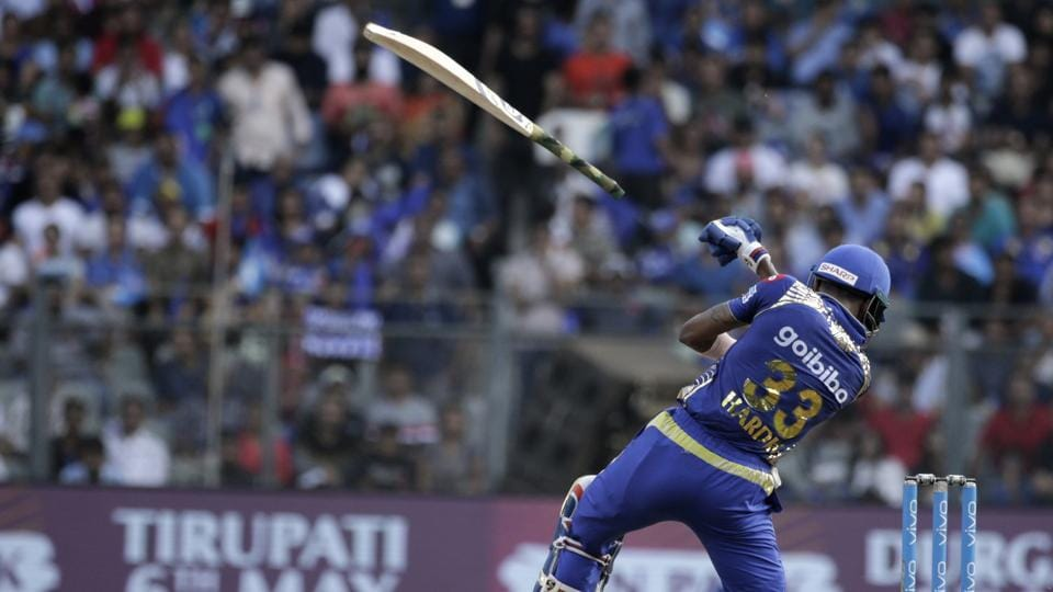 Mumbai Indian batsmen Hardik Pandya slips his bat off from his hands during the VIVO IPL cricket T20 match against Kolkata Knight Riders' in Mumbai on May 06, 2018. (Rafiq Maqbool / AP)