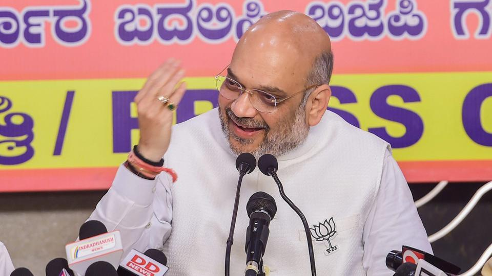 BJP National President Amit Shah addresses a press conference in Bengaluru on May 10, 2018. As the campaign came to a close, Shah said his party will win at least 130 seats in the May 12 elections and that BS Yeddyurappa will be the next chief minister of the state.  (PTI)