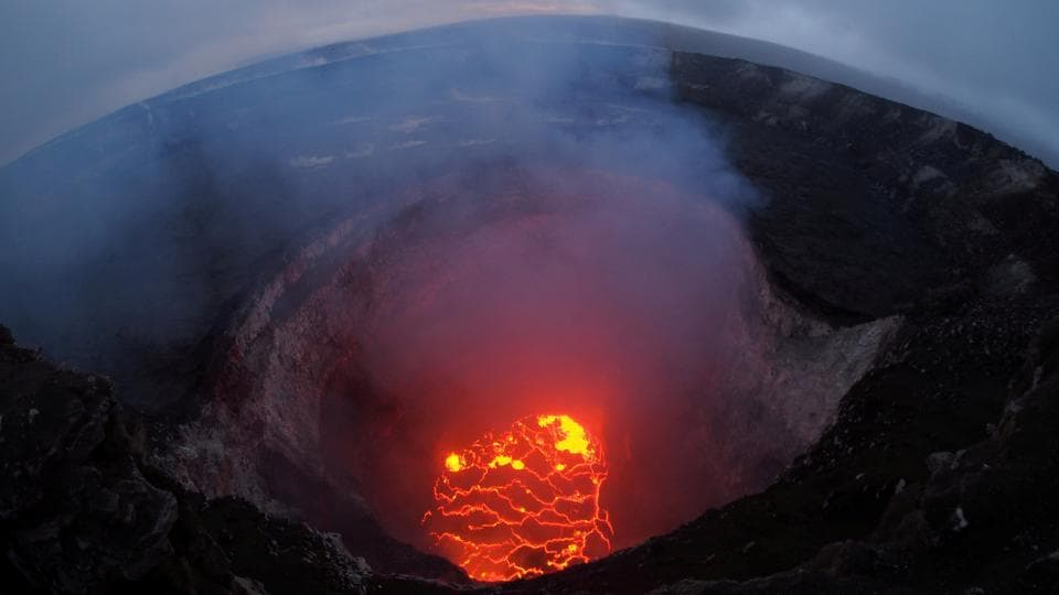 Kilauea volcano's summit lava lake shows a significant drop of roughly 220 metres below the crater rim in this wide angle camera view showing the entire north portion of the Overlook crater in Hawaii, United States. (USGS Handout / REUTERS)