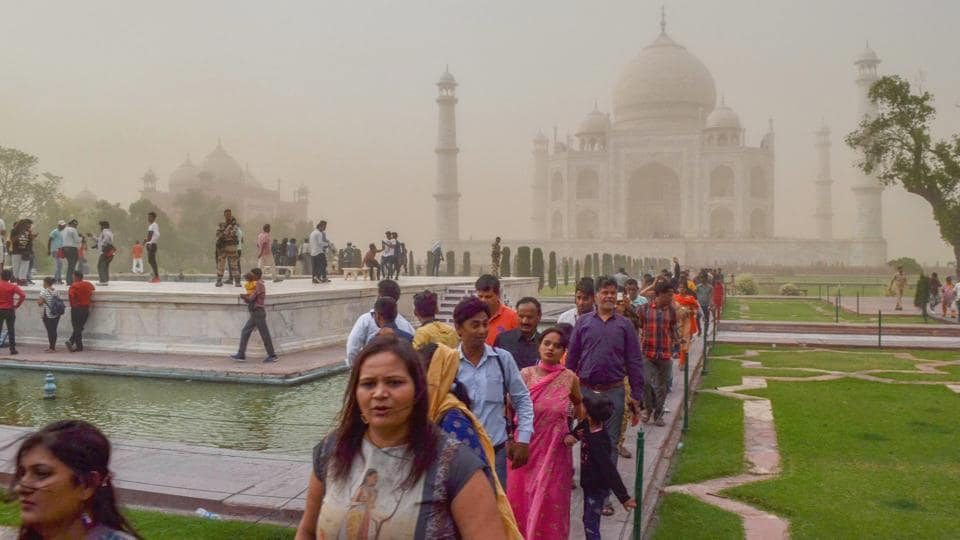 Visitors seen at the Taj Mahal in Agra on May 09, 2018.  The Supreme Court  on Wednesday came down heavily on the Archaeological Survey of India for its failure to take appropriate steps to protect and preserve the iconic monument. (PTI)