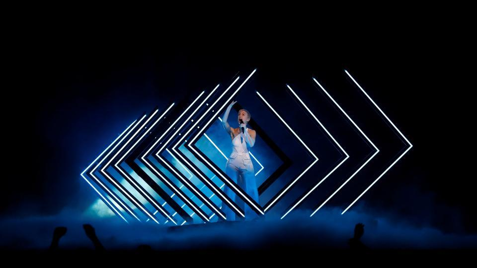 United Kingdom's SuRie performs during a rehearsal for Eurovision Song Contest 2018 at the Altice Arena hall in Lisbon, Portugal. (Pedro Nunes / REUTERS)