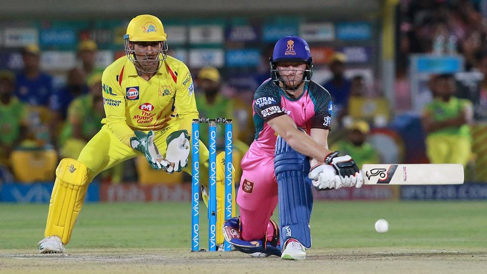Jos Buttler in action for Rajasthan Royals during their Indian Premier League (IPL) 2018 against Chennai Super Kings onFriday.