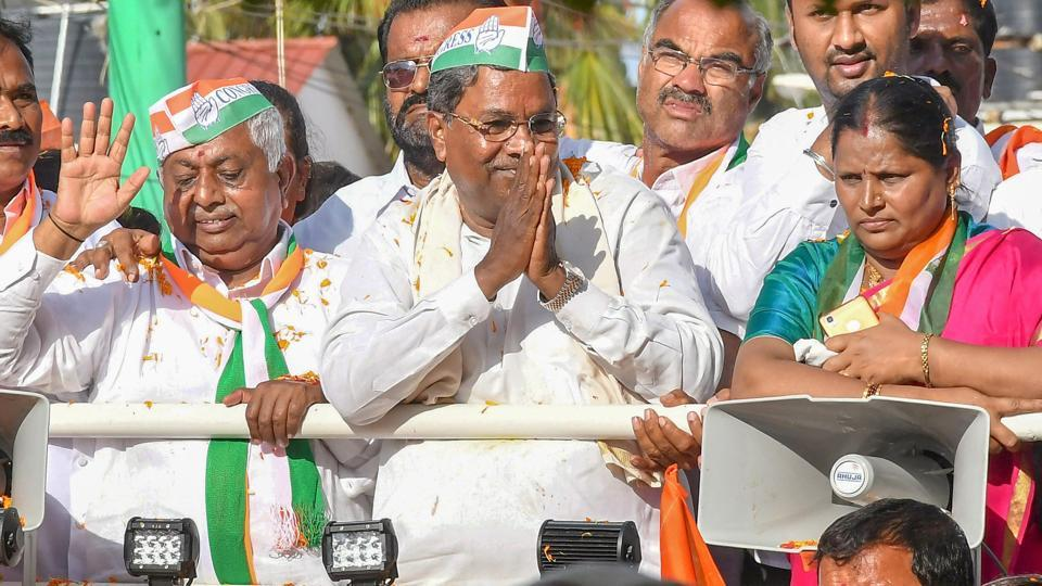 Karnataka chief minister Siddaramaiah (with hands folded) during a roadshow ahead of Karnataka Assembly elections in Chamundeshwari on Thursday.