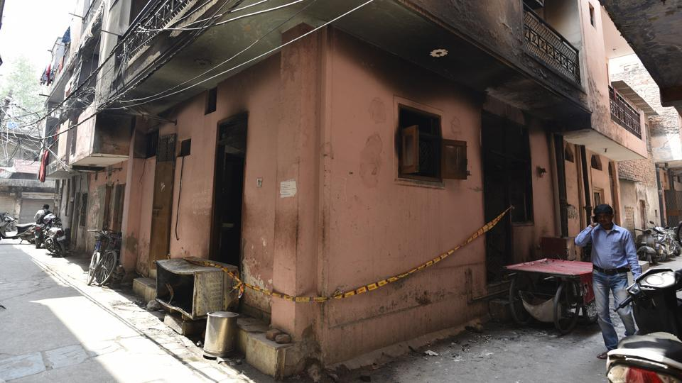 A view of  the house of an elderly couple --Khedi Lal and Laxmi, who were charred to death after a fire broke out in their house at Sudarshan Park near Moti Nagar in New Delhi on Friday. (Sanchit Khanna / HT Photo)
