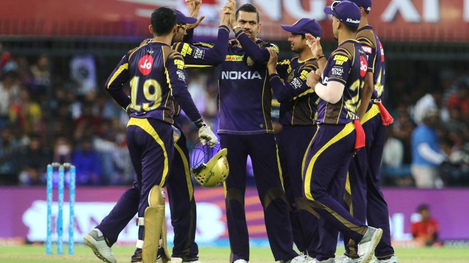 Kolkata Knight Riders players celebrate the wicket of Kings XI Punjab's KL Rahul during an Indian Premier League (IPL) 2018 match at the Holkar Cricket Stadium, Indore. (BCCI)