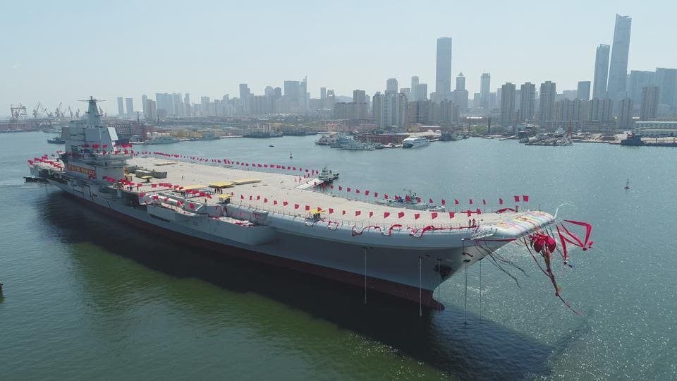 China's First Home-Built Aircraft Carrier Begins Sea Trials Off Liaoning