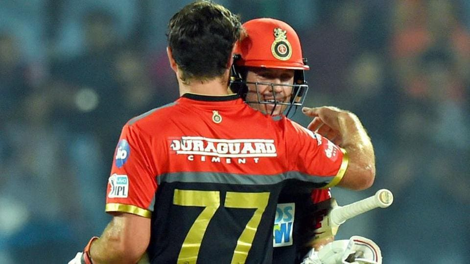 AB De Villiers (R) and Colin de Grandhomme celebrate their five-wicket win.  (PTI)