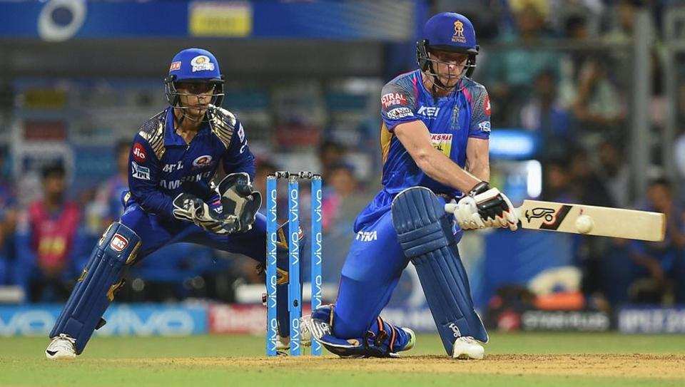Jos Buttler in action for Rajasthan Royals during their Indian Premier League (IPL)2018 match against Mumbai Indians on Sunday.
