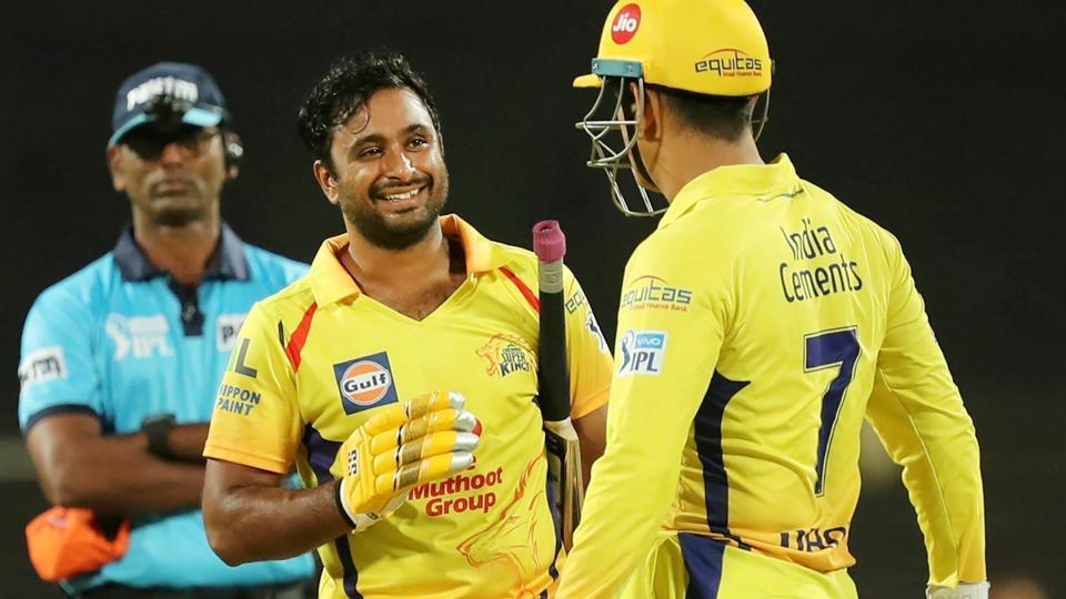 Ambati Rayudu celebrates his century against Sunrisers Hyderabad with Chennai Super Kings captain MS Dhoni during an Indian Premier League (IPL) 2018 match.