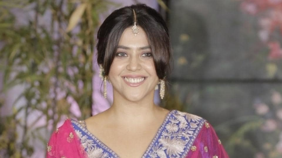 Producer Ekta Kapoor at the wedding reception of actress Sonam Kapoor and businessman Anand Ahuja in Mumbai.