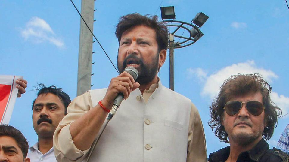 Former BJP minister Choudhary Lal Singh leads a protest rally demanding CBI probe over the rape and murder of an 8-year-old Kathua girl in Jammu.