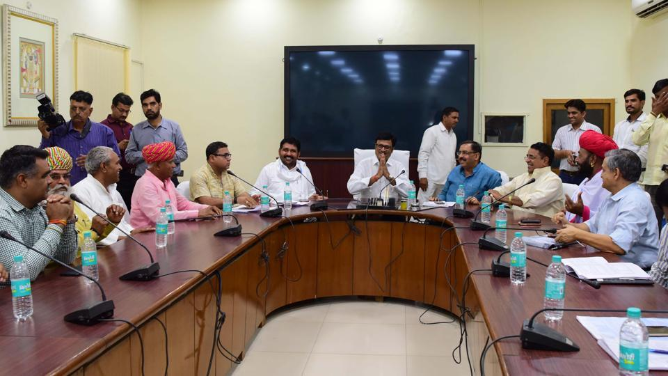 Group of ministers meet Gujjar delegation in Jaipur on Monday.