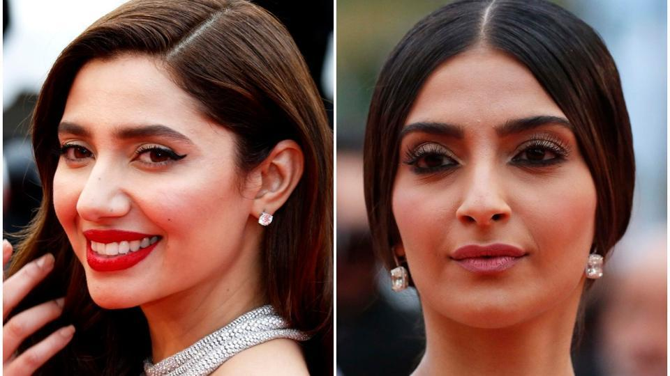 Sonam Kapoor and Mahira Khan greeted each other before walking on the red carpet at Cannes onMonday.