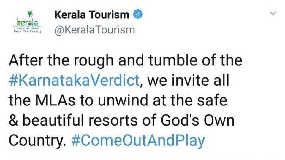 Kerala Tourism department's cheeky take on Karnataka's impending resort politics?