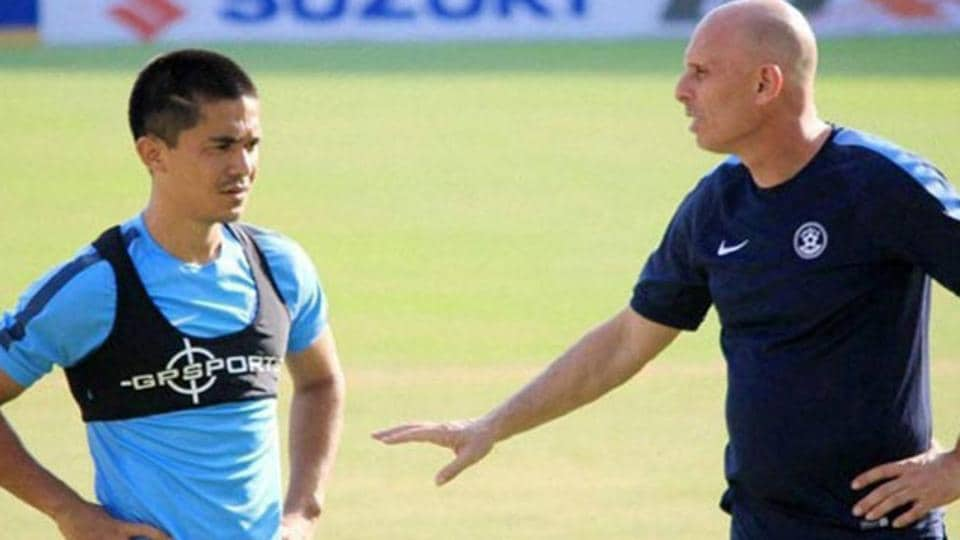Bhaichung Bhutia (not in pic) feels Indian football team coach Stephen Constantine should build a strong core squad around players such as skipper Sunil Chhetri, and then build on it adding new and young players as they emerge.