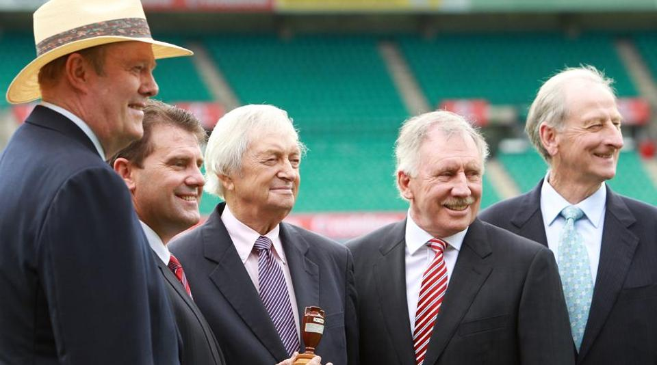Bill Lawry (extreme right) formed a magnificent quartet of commentators for Channel Nine with Ian Chappell, Richie Benaud and Tony Greig.