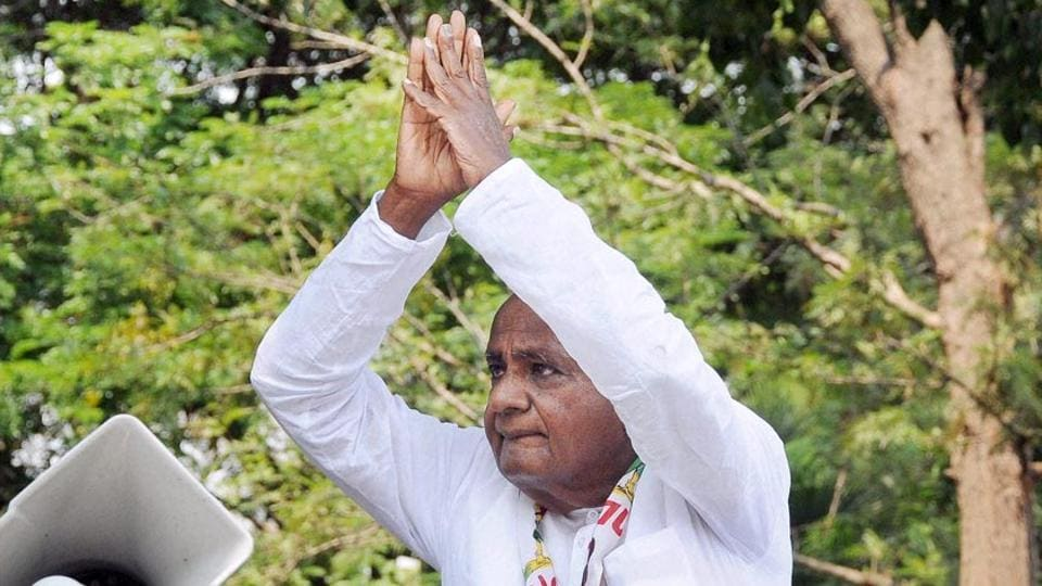 JD(S) president-HD Deve Gowda during an election campaign, Mysore, 2018