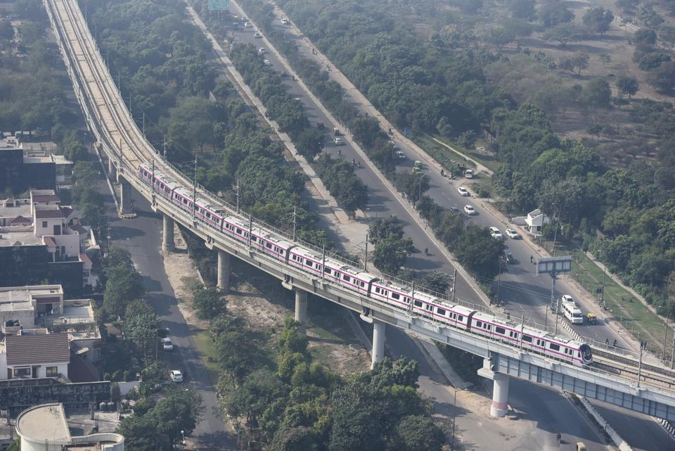 A bird's eye view of Kalkaji Mandir-Botanical Garden metro stretch from Noida's Sector 3.