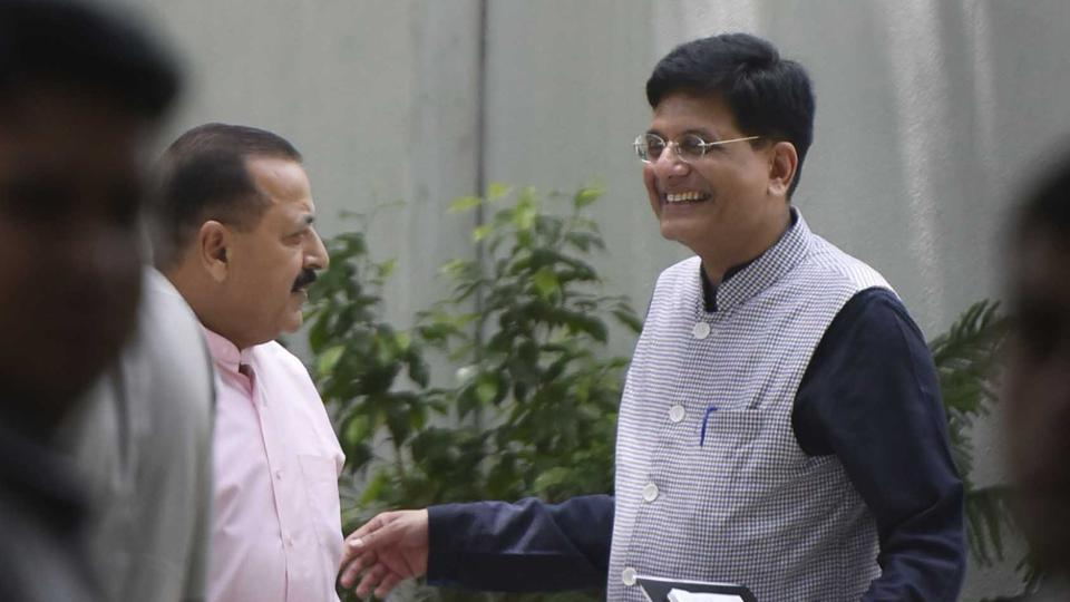 Railway minister Piyush Goel is seen outside the residence of BJP president Amit Shah after being given additional charges of finance ministry in New Delhi on Tuesday. (Vipin Kumar / HT Photo)