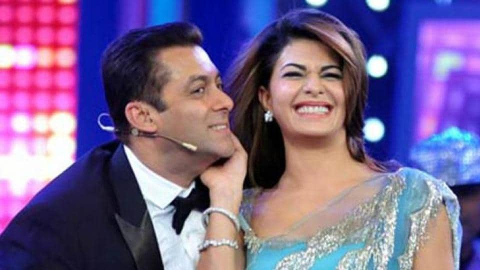 Salman Khan and Jacqueline Fernandez at a TV show.