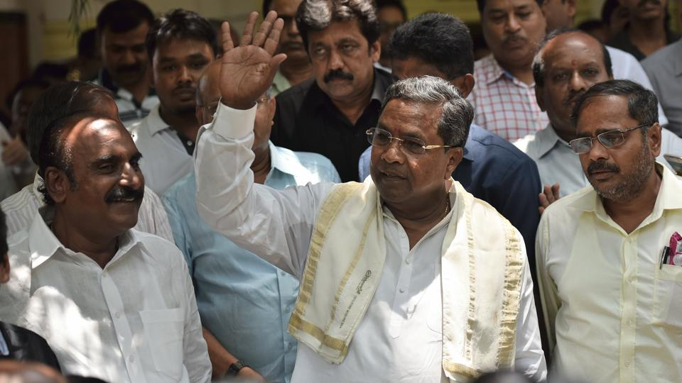 Outgoing Karnataka chief minister Siddaramaiah after a press conference at Press Club in Bengaluru on May 6.