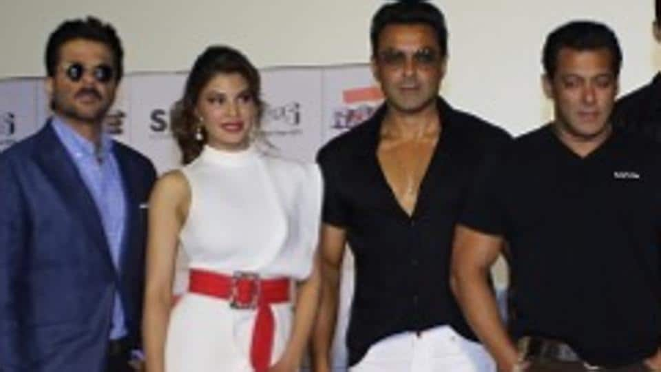 Salman Khan with his Race 3 family at the film's trailer launch.