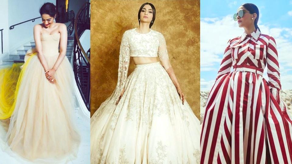Image result for sonam kapoor dress in stripes during wedding