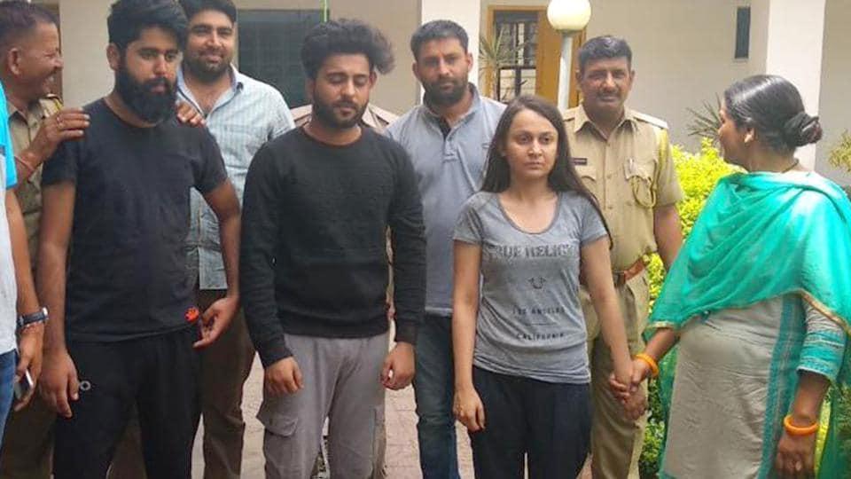 Accused Priya Seth (in grey T-shirt), Dikshant Kamra (in grey pyjama) and Lakshya Walia at Jhotwara police station in Jaipur.
