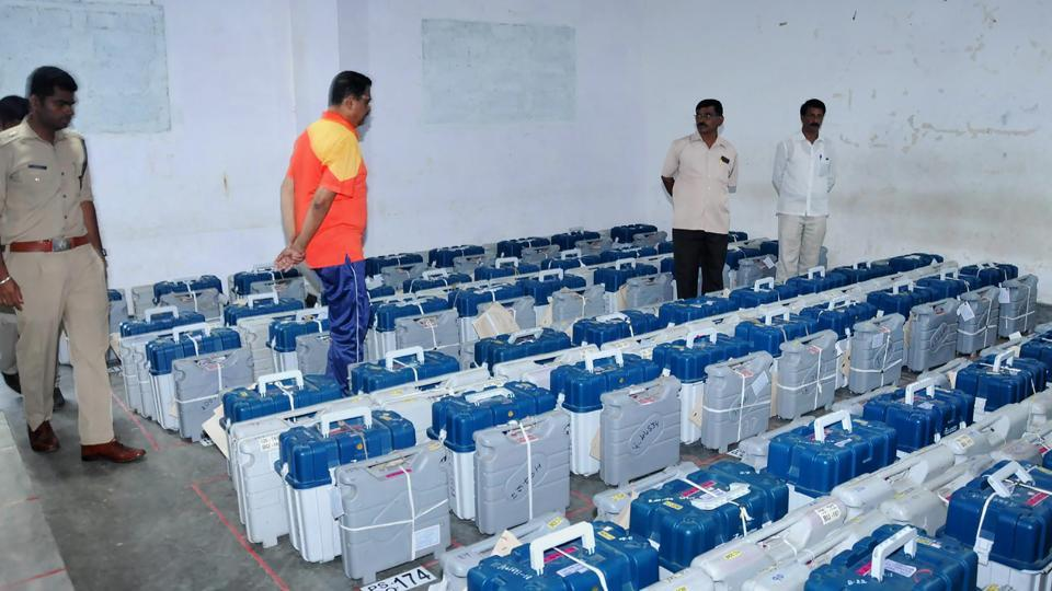 Chikmagalur: EVMs being stored in a strong room at Chikmagalur in Karnataka on Sunday, ahead of Assembly polls. PTI Photo (PTI5_13_2018_000126B)