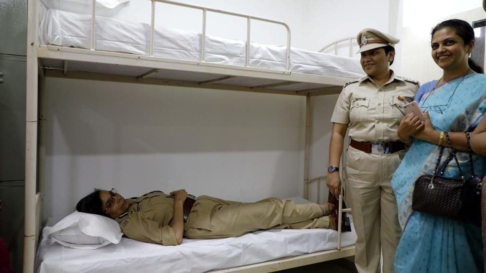 A fully equipped retiring room for policewomen, provided by the Rotary club of Pune NIBM's 8th Infrastructure For Women Police (IWP), was inaugurated by Rashmi Shukla, commissioner of Pune police at the commissionerate on Monday. The room has six bunk beds, 18 lockers, two washrooms, one bathroom, one dressing table, full height mirror, writing table and six chairs. Shukla thanked the Rotarians for providing policewomen with the required basic infrastructure. (Rahul Raut/HT PHOTO)
