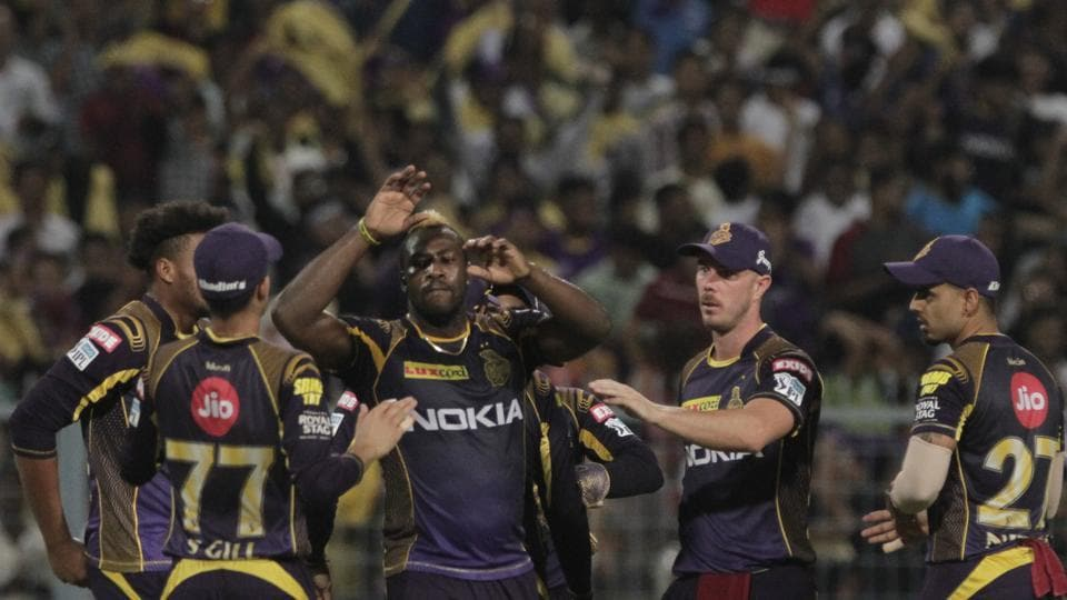 Andre Russel took Rahul Tripathi's wicket to give Kolkata Knight Riders some relief. (AP)