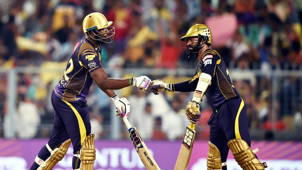 Karthik and Andre Russell calmly guided Kolkata Knight Riders over the line with a six-wicket win with two overs to spare. This result boosted KKR's play-off chances and dented RR's hopes. (PTI)