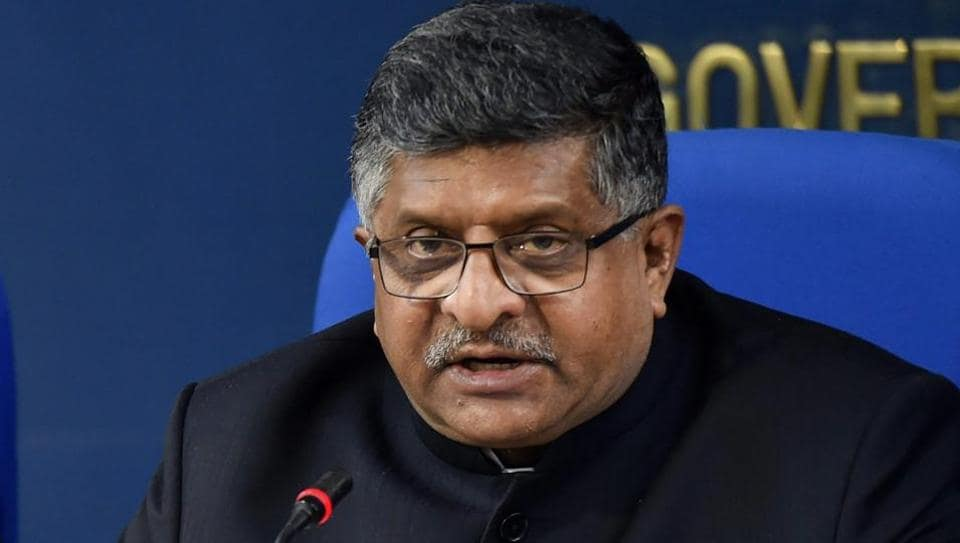 Union Law & Justice Minister Ravi Shankar Prasad briefs the media after a cabinet meeting in New Delhi.