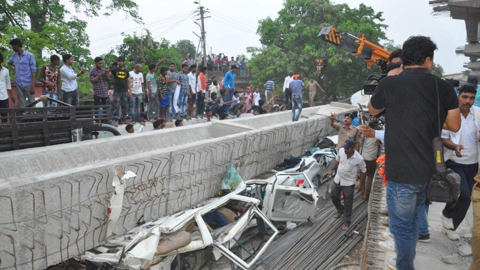 The part of the Varanasi flyover which came crashing down on May 15, killing 17 people, had just been constructed in February.