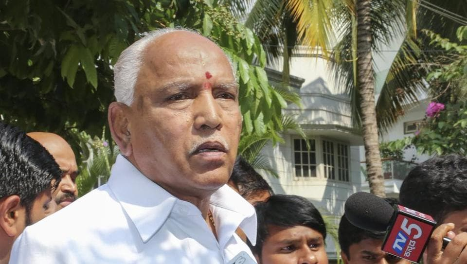 BJP's chief ministerial candidate B S Yeddyurappa talks to media after Karnataka election results, in Bengaluru.