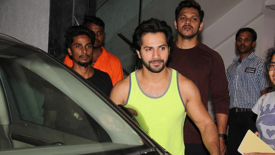 Varun Dhawan was photographed at his gymnasium on Wednesday in Mumbai.