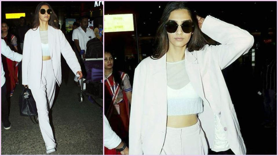 Need a cool way to dress down a pantsuit? Like Sonam Kapoor Ahuja, wear it with some sneakers. (Instagram)