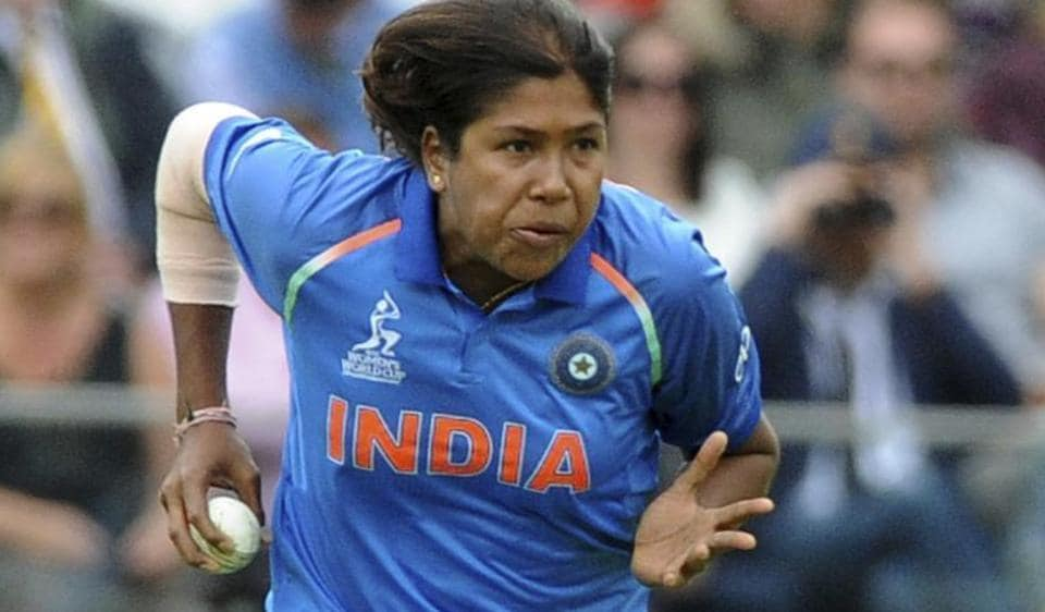 Jhulan Goswami on the cricket ground during a match.