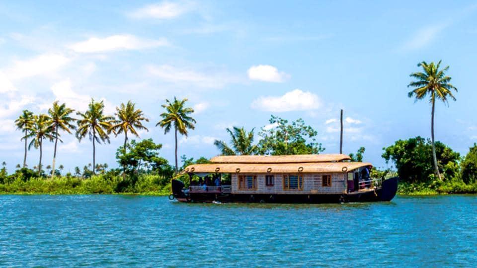 A houseboat on Kerala backwaters, in Alleppey, Kerala.