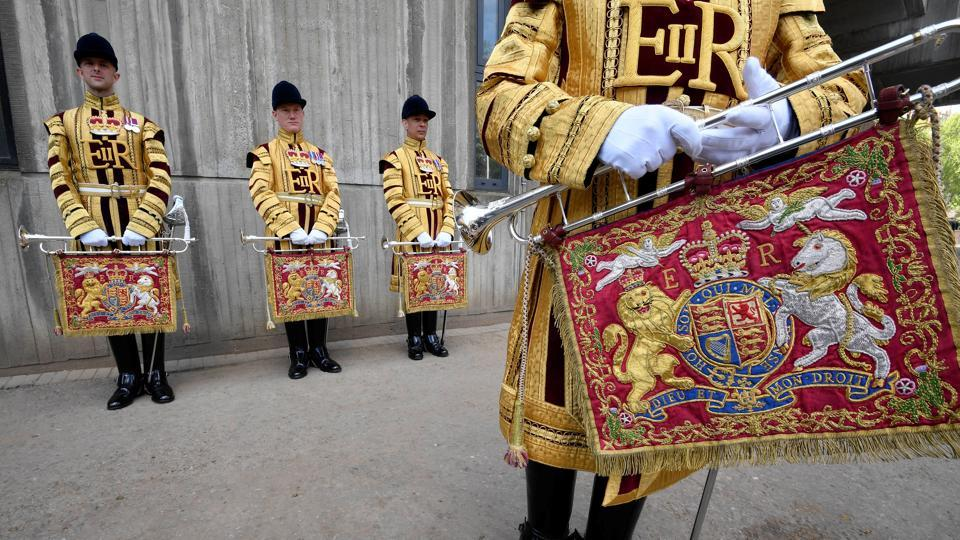 "State Trumpeters, who are members of the Household Cavalry are providing ceremonial support to the wedding. The Household Cavalry have a ceremonial role to play in most major royal events, from the opening of parliament to ""trooping the colour,"" a large parade to mark the Queen's official birthday (Toby Melville / REUTERS)"